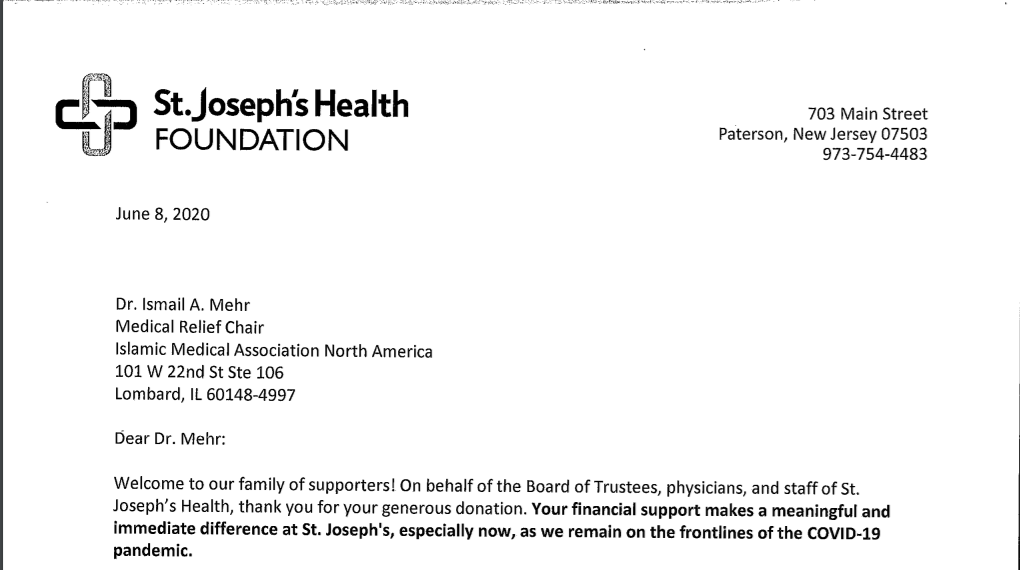 Letter of Thanks from St. Joseph's Health Foundation for KN95 masks